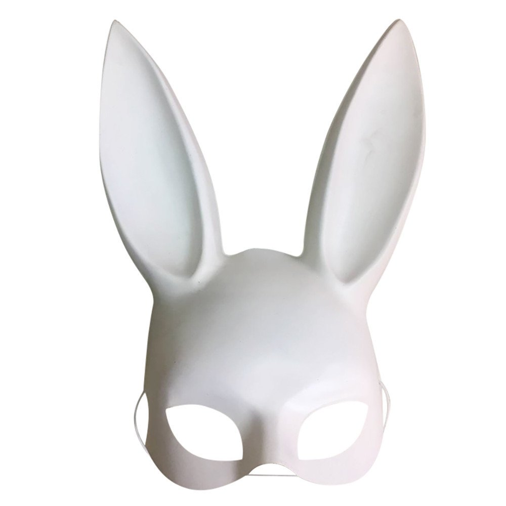 Futemo Easter Rabbit Ears Mask Half Face Masks Nightclub Bar Masquerade Party (White)