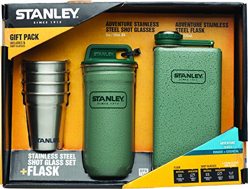 Stanley Adventure Stainless Steel Shots + 8oz Flask Gift Set Hammertone Green by Stanley