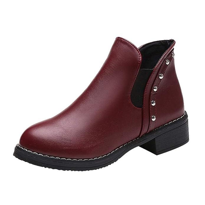 Botas Cortas para Mujer,Beikoard Mujeres Remaches Zapatos Planos Martan Botas Botines De Cuero Zapatos De Tacón Redondo,Cabeza Redonda Remache Plano ...
