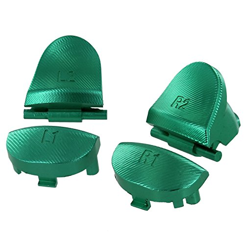 Hisonders Aluminum Alloy Metal L1 R1 L2 R2 Trigger Buttons with 2 Springs for PS4 First Gen Controller (Green)