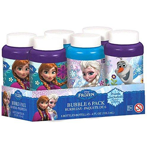 Amscan Disney Frozen Bubble Bottles Party Favour Toy & Prize Giveaway (Pack of 6), Blue/Violet, 4 oz by Amscan
