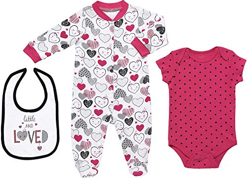 Mini B. by Baby Starters 3-Piece Layette Set- Pink and Black/Little Love Heart, 6-9 Months