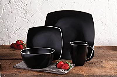 Gibson Overseas, Inc. Gibson Home Soho Lounge Square 16-Piece Dinnerware Set Service of 4, Stoneware