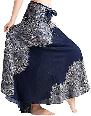 Women's Long Hippie Bohemian Skirt Gypsy Dress Boho Clothes Jango Flowers | One Size Fits Asymmetric Hem Design