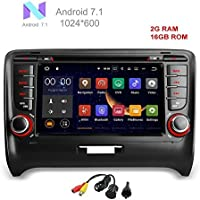 MCWAUTO for Audi TT 2006-2013 Car DVD Player Quad Core Android 7.1 Car DVD Player GPS Radio Stereo Navigation System With USB/SD/Steering Wheel/Bluetooth/Wifi/3G/AV-IN/16Gb Memory/Rear Camera