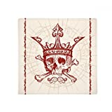 Hearts Spade Red Crown Skeleton Poker Card Anti-slip Floor Pet Mat Square Home Kitchen Door 80cm Gift