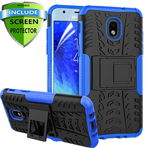 RioGree for Samsung Galaxy J3 Achieve Case, J3 Star/J3 V 3rd Gen/J3 Orbit/J3 Express Prime 3 Phone Case, for Galaxy J3 2018/ Sol 3/Amp Prime 3, with Screen Protector Kickstand Cover Skin, Blue from RioGree