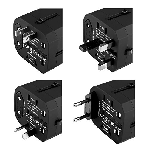 Insten Universal Worldwide Travel Adapter Wall Charger Power Plug AC Adapter with Dual USB Charging Ports for US/EU/UK/AU International Cellphone Laptop, Black by INSTEN (Image #1)