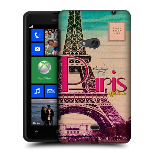 Head Case Designs Eiffel Tower Paris France Best of Places Vintage Postcards Protective Snap-on Hard Back Case Cover for Nokia Lumia 625
