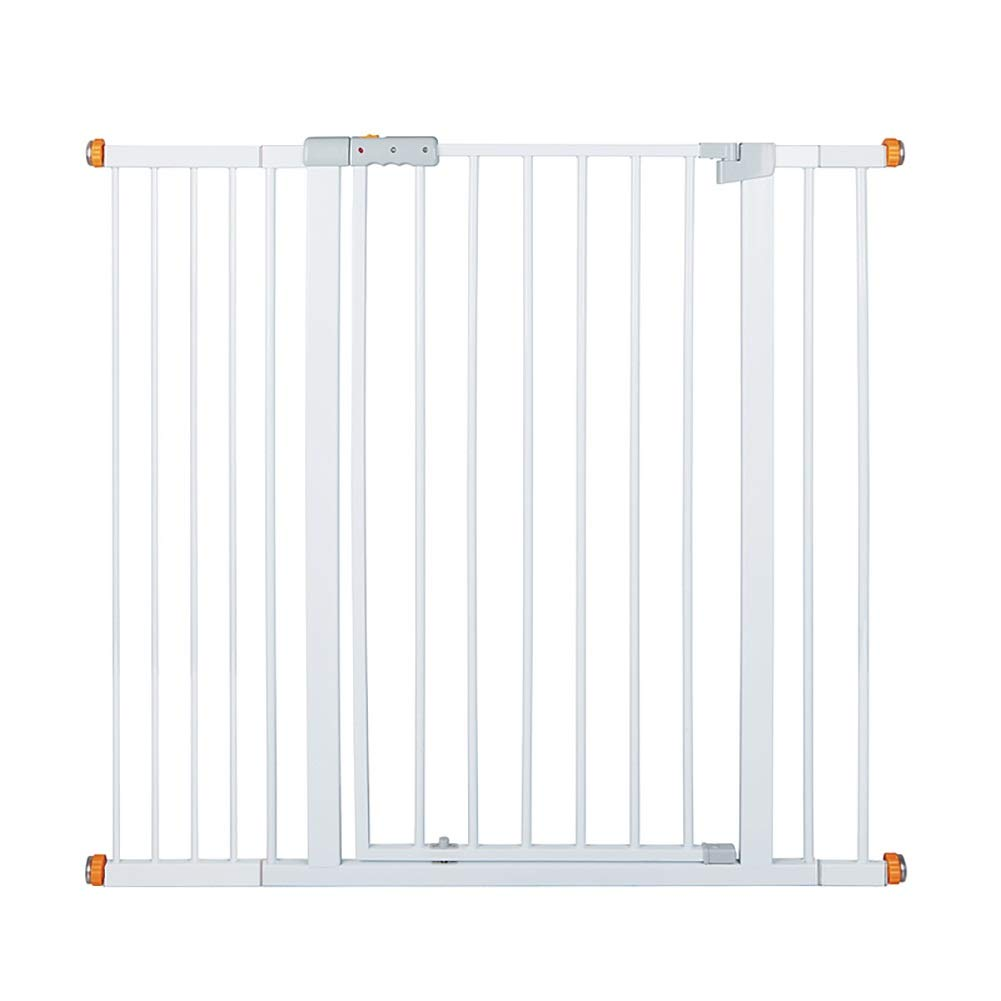 Stair gates 111-118cm Extra Wide for Doorway, Pressure Mounted Metal Pet Dog Gate with Self-closing Walk-thru Door, White