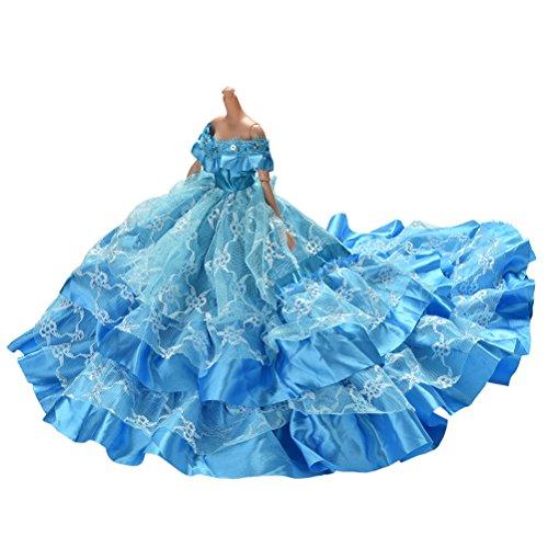 JiaUfmi 1 Pcs Blue Dress Rapunzel Party Dress Costume Wedding Gown Dress for Dolls]()