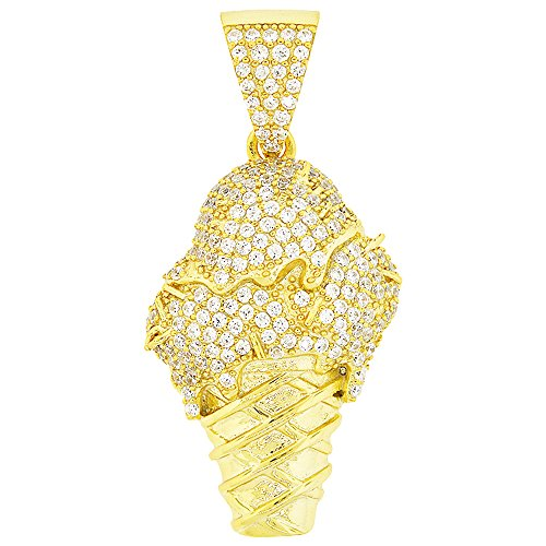 (Men's Yellow Gold-Plated Sterling Silver Round Cut Cubic Zirconia Ice Cream Cone Pendant, 1.80