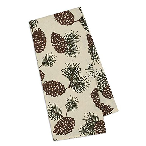 Design Imports Mountain Pine Cotton Table Linens, Dishtowel 18-Inch by 28-Inch, Pinecone Print
