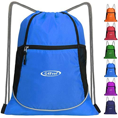 G4Free Drawstring Backpack Large Sports Gym String Bag Cinch Sack Gymsack Sackpack Waterproof (Blue)