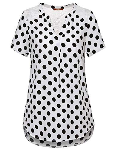 (Gaharu Casual Blouses for Women, Juniors Simple Peasant Blouse Loose Fit Rounded Hemline Chiffon PolkaDot Shirts V Neck Short Sleeve Top Daily Wear White Polka Dot,X-Large)