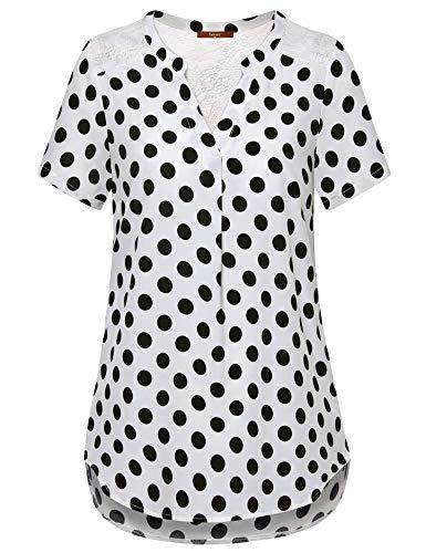 Gaharu Elegant Blouse, Womens V Neck Short Sleeve PolkaDot Tunic Casual Office Work Chiffon Blouse Shirts Tops White Polka Dot,XX-Large
