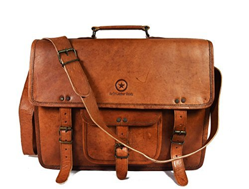 15 Inch Leather Vintage Crossbody Messenger Satchel Bag Gift Men Women ~ Business Work Briefcase Carry Laptop Computer Book Handmade Rugged & Distressed, By Aaron Leather, 15 x 11 x 4 Inches (Tan)