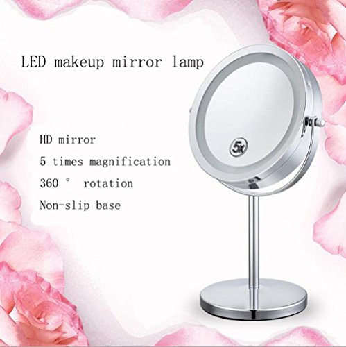 ZT LED European-Style Cosmetic Mirror With A Magnifying Mirror Desktop Magnifying Glass Magnifying Mirror 5 ()