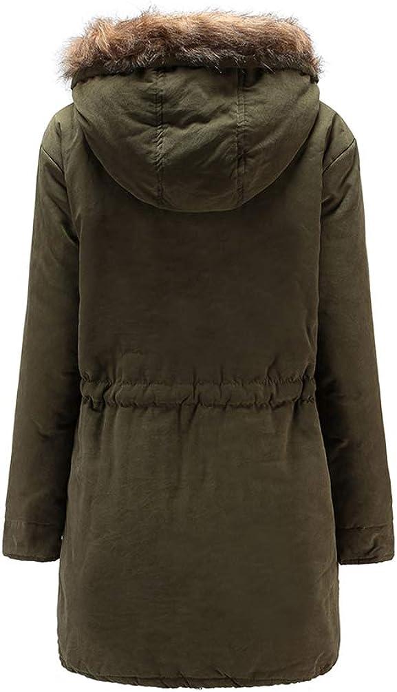 JIANALNPTT Winter Coat Casual Cotton Warm Hoodie Trench Womens Overcoat Jacket