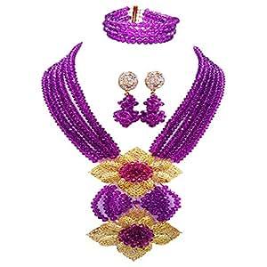 aczuv Fashion African Bead Necklace Nigerian Beads Wedding Jewelry Sets for Women (Purple)