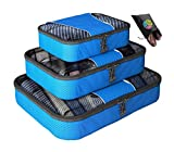 Packing Cubes - 4 pc Set Luggage Organizer - Bonus Shoe Bag Included - By Bingonia Travel Accessories (Blue)
