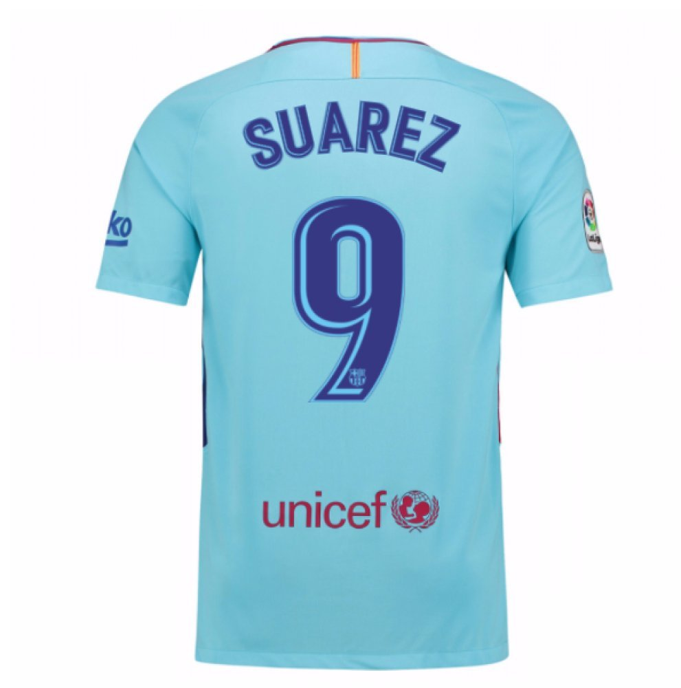 2017-2018 Barcelona Away Football Soccer T-Shirt Trikot (Luis Suarez 9) - Kids