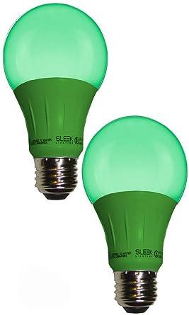 Amazon.com: SleekLighting LED A19 Luz Verde foco (120 V, 3 ...