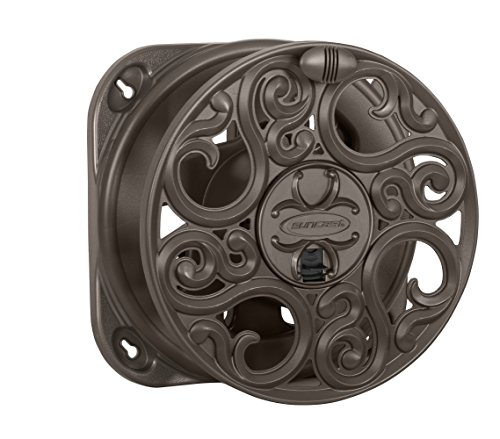 Suncast Sidewinder Side Scroll Mount House Reel - Fully Assembled Stylish Wall Mount with Removable Reel for Garden Hoses - 60' Vinyl Hose Capacity - Bronze ()