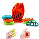 KUNDUZ fitness Grip Trainer & Finger Stretcher - Finger and Hand Strengtheners - 3 Levels Hand Grip Rings & Finger Resistance Bands with Carry Bag (6 pack)