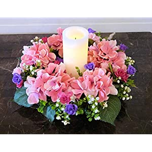 Pink Hydrangea Candle Wreath, Handmade Table Wreath with Hydrangeas, Hydrangea Candle Ring 64