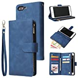 UEEBAI Wallet Case for iPhone 6 Plus iPhone 6S Plus, Premium Vintage PU Leather Magnetic Closure Handbag Zipper Pocket Case Kickstand Card Holder Slots with Wrist Strap TPU Shockproof Flip Cover-Blue