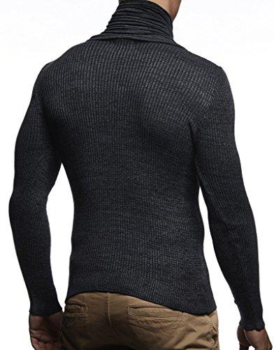 Sweatshirt Hommes Pull Sweater Ln1535 Basic Tricot En Longue Châle Nelson Neck Crew Feinstrick Pour Schwarz Leif Des anthrazit Col Pullover Hoodie Manche XwTB6tqx