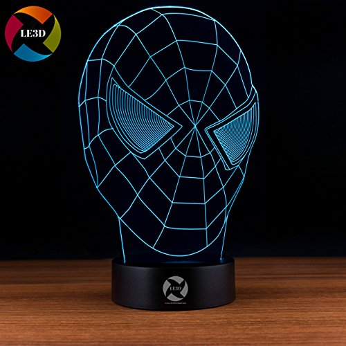 LE3D 3D Optical Illusion Desk Lamp/3D Optical Illusion Night Light, 7 Color LED 3D Lamp, Amazing Spiderman Mask 3D LED for Kids and Adults, Marvel Spiderman Light Up
