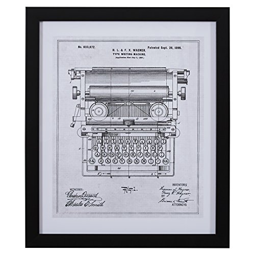 Rivet Black on White Blueprint of 1899 Typewriter, Black Frame