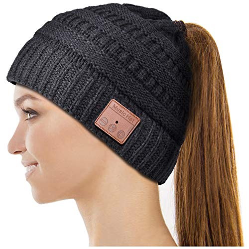 Bluetooth Hat, Gifts for Women Ponytail Bluetooth Beanie Hat, Upgraded Bluetooth 5.0 Winter Music Hat Wireless Headphones with HD Stereo Speakers Built-in Microphone, for Girls. Black