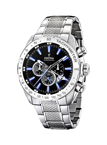 Festina Men's F16488/3 Silver Stainless-Steel Quartz Watch with Black Dial