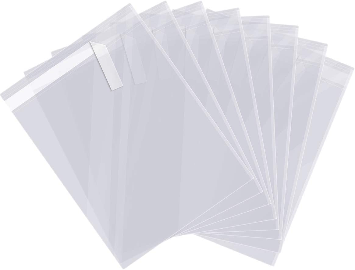 """200 ct 9"""" X 12"""" Clear Cello Cellophane Bags Self Sealing and Releasable Food Safe for Shirts, Gift, Cookies, Candies 1.6 Mil, Bulk"""