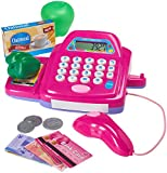 Prextex Cash Register For Pretend Play Includes Shopping Cart Pretend Food and Pretend Money