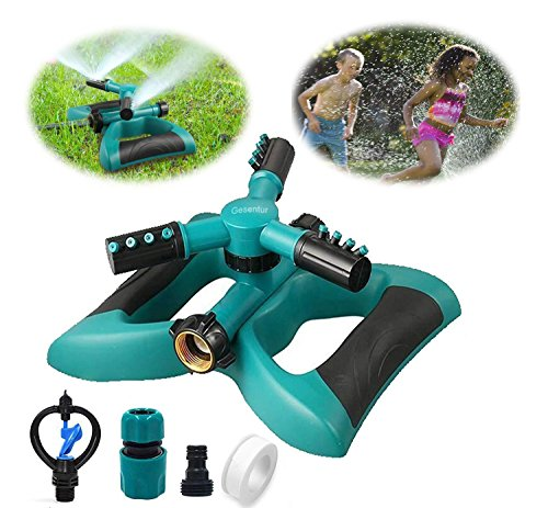 Gesentur Garden Sprinkler, Automatic 360 Rotating Adjustable Lawn Watering Sprinkler with 3600 SQ FT Coverage Premium Quality Lawn Irrigation System/Leak Free Design Durable 3 Arm Sprayers by Gesentur