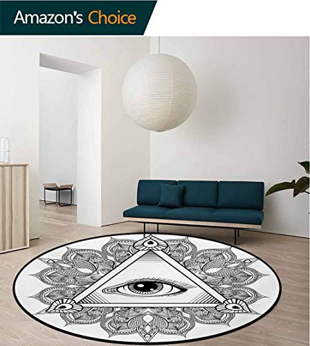(RUGSMAT Eye Modern Machine Washable Round Bath Mat,Vintage All Seeing Eye Tattoo Symbol with Boho Mandala Providence Spirit Occultism Non-Slip Soft Floor Mat Home Decor,Round-47 Inch)