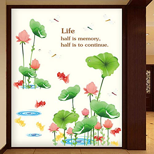 Chinese Style Family Decoration Lotus Pond Wall Stickers Clear Print Pattern Lotus Goldfish Scenery Living Room Wallpaper Decals ()