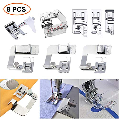 (SIMPZIA Sewing Machine Feet w/3Pcs Rolled Hem Pressure Foot,3Pcs Narrow Rolled Hem Presser Feet & Adjustable Guide Presser Foot, Bias Binder Foot Compatible with Singer, Brother, Janome etc(Low Shank))