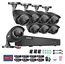 ANNKE Security Camera System 8CH 1080N DVR with (8) 960P Hi-Resolution Weatherproof Indoor/Outdoor CCTV Cameras with Remote Viewing and IR-cut Night Vision LEDs- NO HDD