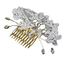 YAZILIND Fashion Bride Hair Accessories Western Style Wedding Headdress Shiny Pearls lace Flower Hair Comb