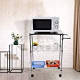 Tronet Kitchenware 4-Shelf Storage Rack Microwave Oven Holder Wheeled Trolley [Ship from USA Directly]