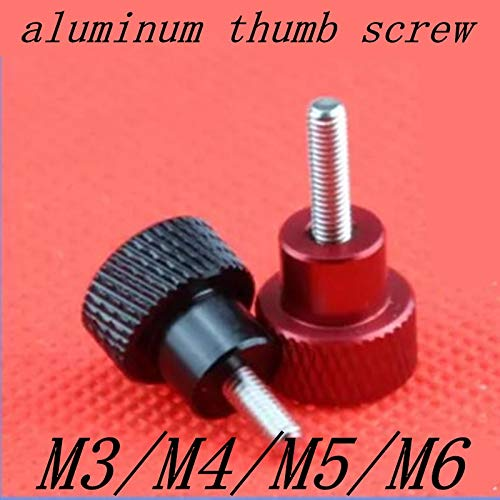 Ochoos 10PCS 5PCS Aluminum Thumb Screw M3 M4 Aluminum Knurled Head staniless Steel Thread Hand Tighten Thumb Screws - (Size: M4 5pcs lot, Length: 6mm, Color: Black) by Ochoos