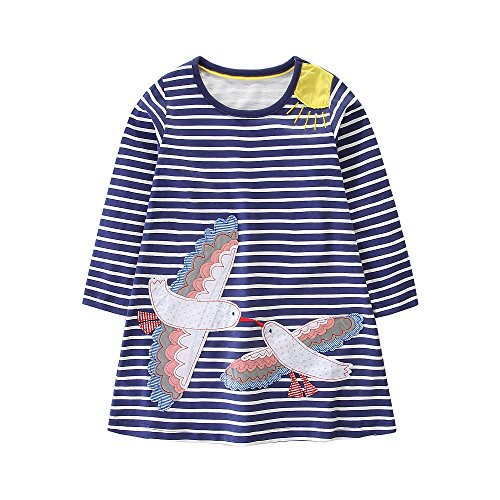 (FreeLu Girls' Cotton Casual Longsleeve Party Dresses Special Occasion Cartoon Print)