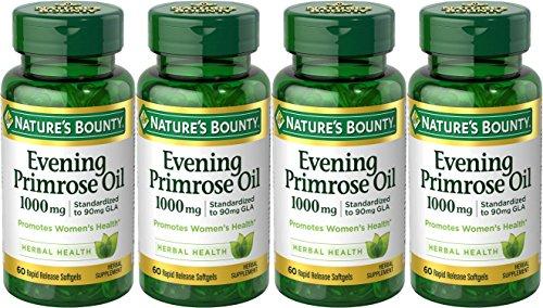 Nature's Bounty Evening Primrose Oil, 1000mg, 240 Softgels (4 X 60 Count Bottles) (Natures Bounty Evening Primrose Oil)