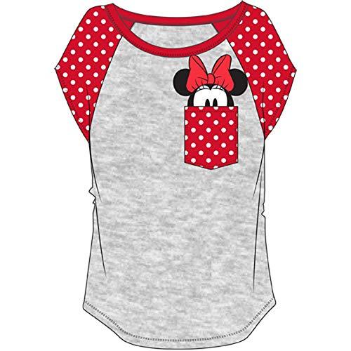 Plus Size Disney (Disney Plus Size Fashion Contrast Shoulder Top Minnie Pocket Gray Red)