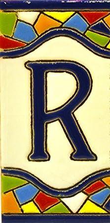 """Imagen deLetreros con numeros y letras en azulejo de ceramica policromada, pintados a mano en técnica cuerda seca para placas con nombres, direcciones y señaléctica. Texto personalizable. Diseño MOSAICO MEDIANO 10,9 cm x 5,4 cm. (LETRA """"R"""")"""